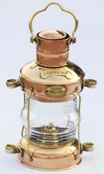Nautical Brass amp; Copper Polished Anchor Lantern Hanging Lamp Home Decorative New $94.00