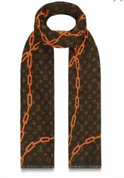 Louis Vuitton Virgil Abloh MP2329 Stole Scarf Shawl Orange Chain Cashmere Silk