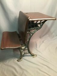 Antique Student Desk Folding Cast Iron Wood Chair Made In USA $146.99