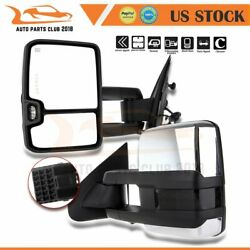 For 14-18 Silverado GMC Sierra Pair Fold Power Signal Heated Chrome Tow Mirrors