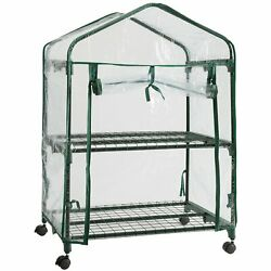 DOEWORKS 2 Tier Mini Portable Plant Greenhouse with Clear Cover Indoor Outdoor