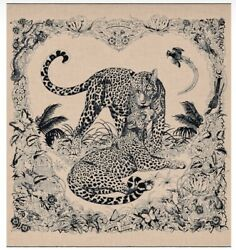 Hermes Jungle Love Tattoo Shawl Stole Scarf Beige Animal Cashmere Silk New 56