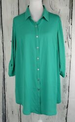 JM Collection Womens Plus Casual Utility Button Front Shirt Top Blouse Green 1X $7.15