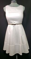 CALVIN KLEIN WHITE COTTON LACE TRIM SLEEVELESS DRESS FIT&FLARE WBELT! SIZE 4P $40.00