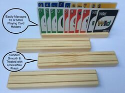 Playing Card Holder Set of 4 Solid Wood Wooden Ships Free Child Friendly Finish