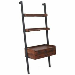 Renwil Corsica 3 Shelf Ladder Bookcase in Natural and Antique Black