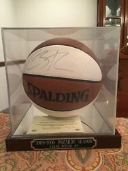 Caron Butler Signed Full Size Basketball Autographed WCOA and Display Case