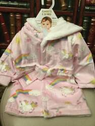 NEW Blankets and Beyond Pink Unicorn Rainbows Baby Girl Robe 12 Months