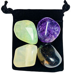 BAD DREAMS & NIGHTMARES  Tumbled Crystal Healing Set = 4 Stones + Pouch + Card $9.99