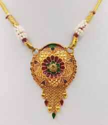 GOLD PENDANT NECKLACE ANTIQUE TRIBAL JEWELRY FILIGREE DESIGN COLOR ENAMEL