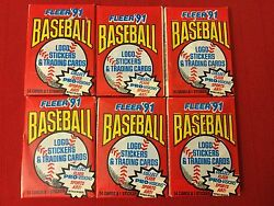 Lot Of 6 UNOPENED 1991 FLEER'91 BASEBALL LOGO STICKERS & TRADING CARD PACKAGE $4.99
