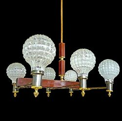 French Art Deco 6 Light Billiard Ceiling FixtureIce Glass Shade Chandelier1950