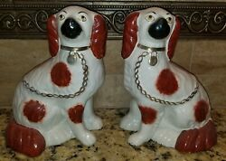 Antique Victorian Copper Luster Staffordshire King Charles Spaniel Dogs 9