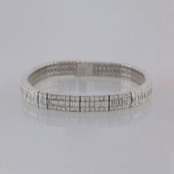 18.48 Carat Baguette and Princess Cut Diamond Line Bracelet 18ct White gold