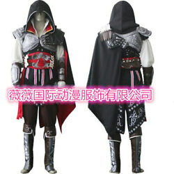 Assassin#x27;s Creed 2 Ezio Auditore Black Outfit Cosplay Costume Halloween Suit Set $89.99