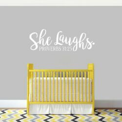 She Laughs Ohio Wall Decal - Scripture Baby Nursery Kids Girls Women Quote
