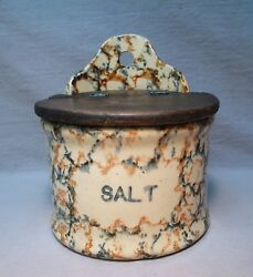 Rare Antique Red & Blue Spongeware Salt Box w Wood Lid Primitive