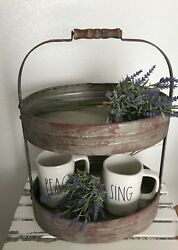Two Tier Red Serving Caddy - FarmhouseRusticPrimitivewestern Decor