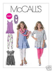 M6275 Girls Plus Dresses Scarf Leggings Size 10.5 16.5 McCalls Sewing Pattern $5.89