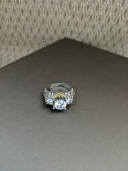 Imitation Diamond Silver With Gold Accents Costume Jewelry Approx Size 6