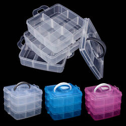 3 Layers Clear Plastic Storage Box Jewelry Bead Screw Organizer Case Container