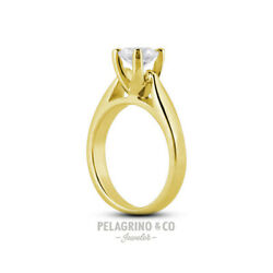 3.17ct I-I1 Ex Round AGI Natural Diamond 18K Gold Cathedral Solitaire Ring 4.5mm