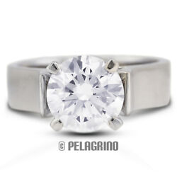 2.24ct F-I1 VG Round AGI Natural Diamond 14K Gold Cathedral Solitaire Ring 5.2mm