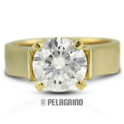 2.17ct D-I1 Ex Round AGI Natural Diamond 14K Gold Cathedral Solitaire Ring 5.2mm
