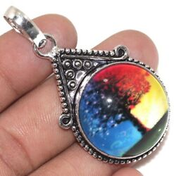 A4374 Fancy Glass 925 Sterling Silver Plated Pendant 2.1