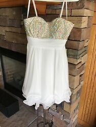 LA FEMME #16173 White Cocktail Homecoming Party Dress size 2 Perfect $29.99