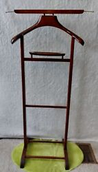 Wooden Suit Tuxedo Butler Valet Stand Rack Italy Wardrobe Vintage Wood Clothing