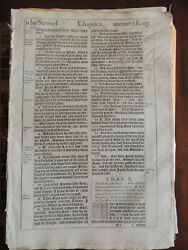 1611 King James She Bible Leaf 1 Samuel chapters 9-10 with CoA