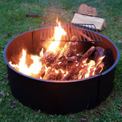 Sunnydaze Heavy Duty 34 Inch Steel Campfire Ring with Rotating Cooking Grate