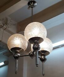 ANTIQUE VINTAGE ART DECO HANGING NICKEL CEILING FIXTURE LIGHT CHANDELIER LAMP