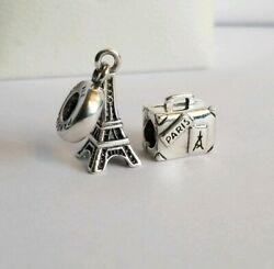 PANDORA Silver SUITCASE Vacation TRIP Travel Charm 790362 and Eiffel Tower Set