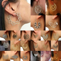 Boho Women Jewelry Holiday Gypsy Tribal Ethnic Mandala Hollow Hoop Earrings Gift $1.99