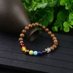 Fashion 8MM Multilayer Wooden Beaded Charm Men's Women Gift 7 Chakra Bracelets