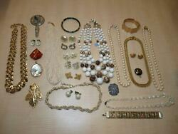 Vintage Costume Jewelry Lot Cameo Earrings Cloisonne Bracelet Necklaces AS IS