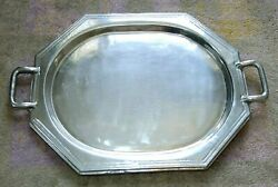 Large Art Deco Silverplate Serving Tray Butler's Tea 8-Sided Heavy 6.5 lbs