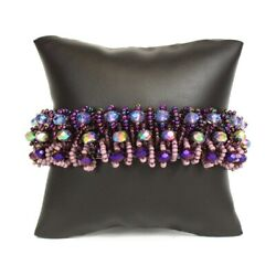 Czech Glass 3 Rows of Crystals Beaded Shades of Purple BRACELET $24.95