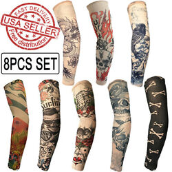 8PCS Tattoo Cooling Arm Sleeves Cover UV Sun Protection Outdoor Sports Golf $11.99