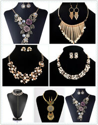 Turkish Necklace Earrings Floral Gemstone Jewelry Set Gold Plated Statement Boho