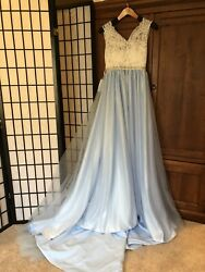 Prom Dress New With Tags Lace Straps A-Line Blue Skirt Long With Small Train $189.99