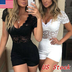 Women's Clubwear Holiday Summer Mini Jumpsuit Lace Romper Party Shorts Dress US