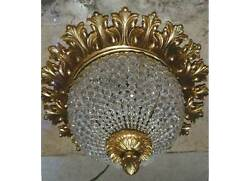 Vintage Crystal Chains Flush Mount Ceiling Chandelier Antique Replica Light $399.00