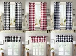 2 PC Plaid Courtyard Buffalo Checker Grommet Window Curtain Panels or 1 Valance $34.99