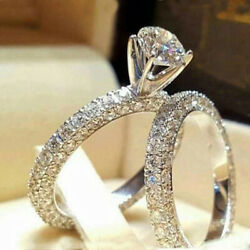 Women Engagement Wedding 2Pcs Set Cubic Zirconia Silver Plated Ring Jewelry Gift