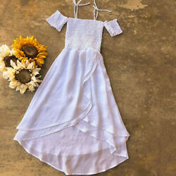 US Stock Girls Princess Dress Kids Baby Party Pageant Casual Beach Chiffon Dress