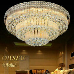 K9 Crystal Layers Chandelier Remote Control LED Pendant Ceiling Light Decor Lamp