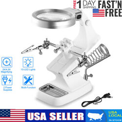 LED Light Helping Hands Magnifier Station + 3X 4.5X USB Lighted Magnifying Glass